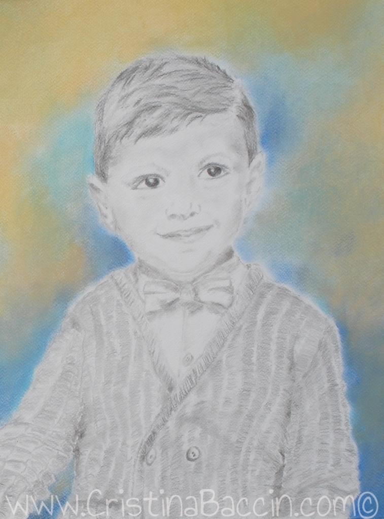 Innocence 1 (Artist: Cristina Baccin, 2015, Graphite & Pastels, 21 x 26 in.)