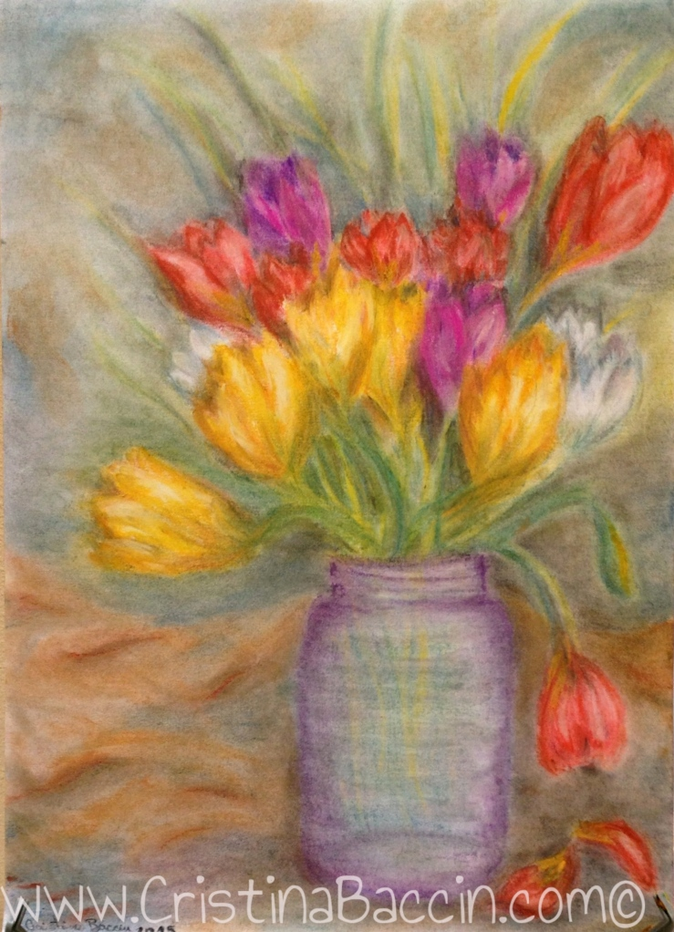 Just Tulips  (Artist: Cristina Baccin, 2015, Pastels, 35 x 50 cms)